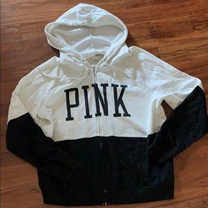 VS Pink black and cream hoodie L